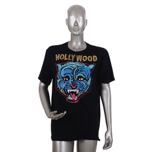 Black Hollywood Tiger Motif Cotton T-Shirt