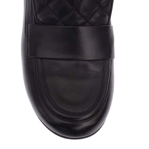 Black Leather Loafers with Silver Heel