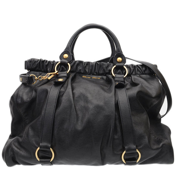 Black Lux Leather Large Soft Shopping Top Handle Bag Tote