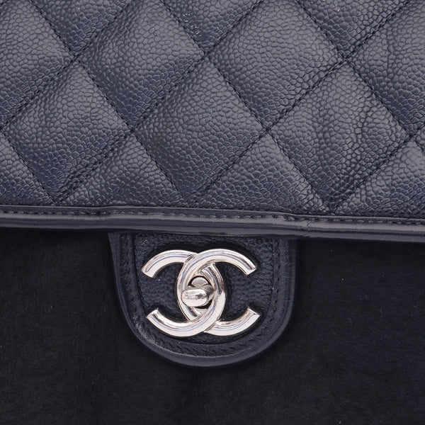 Navy Air Flap Caviar Leather Shoulder Bag