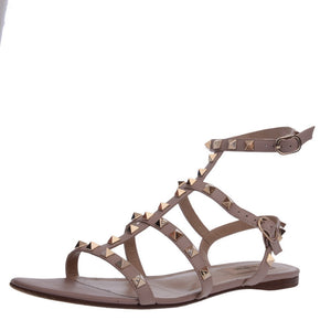 Nude Leather Rockstud Sandals