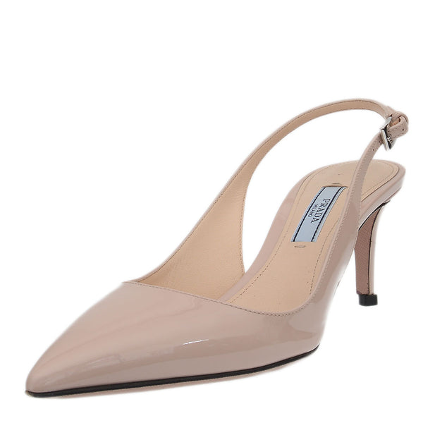 Patent Leather Nude Slingbacks Pumps