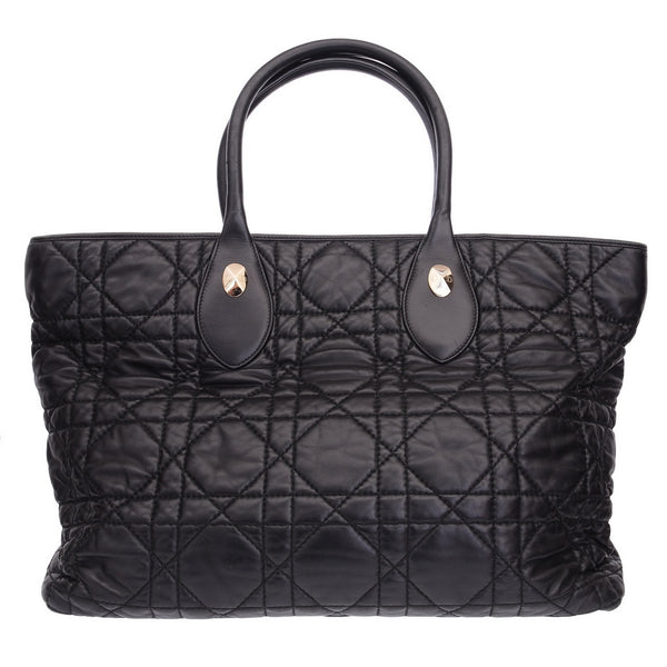 Black Lady Dior Tote Cannage Quilt Lambskin Large