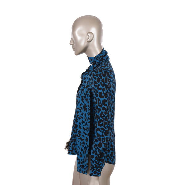 Blue Tiger Print Blouse with Shawl