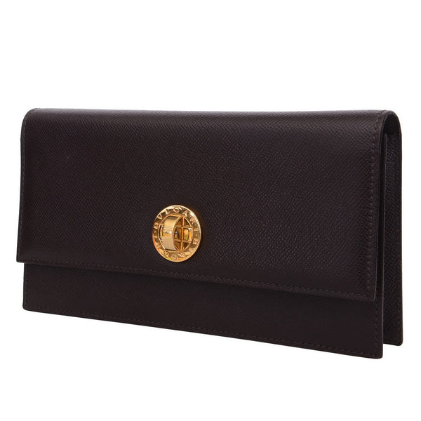 Chocolate Brown Ladies Logo Clutch