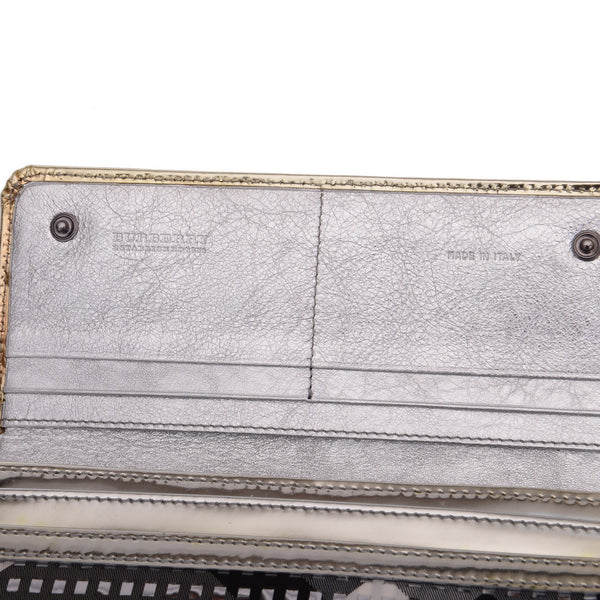 Silver Woven Leather and Canvas Large Ziggy Wallet