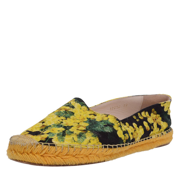 Yellow Cherry Blossom Brocade Espadrilles
