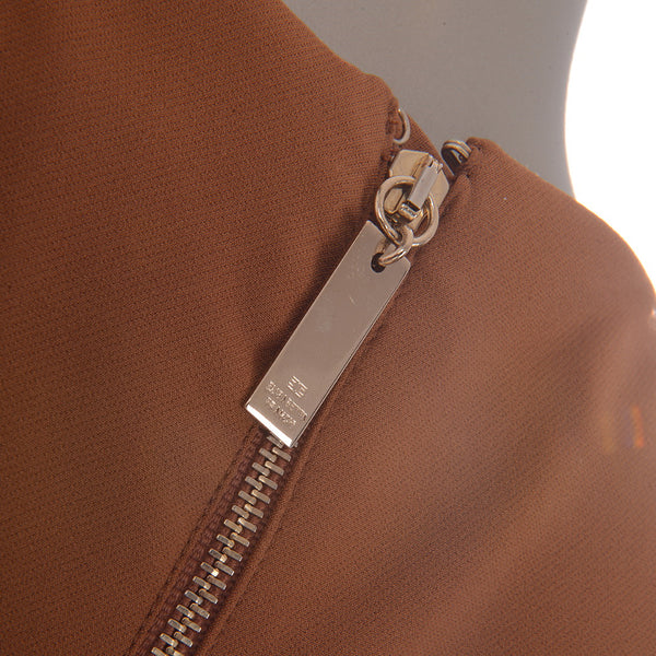 Camel Leather Lined Dress With Gold Belt