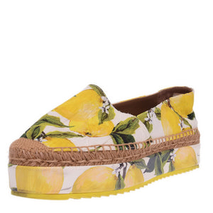 Yellow Lemon Print Brocade Fabric Platform Espadrille Flats