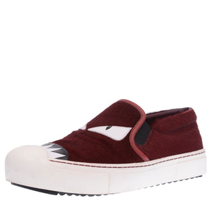 Burgundy Pony Hair Monster Slip On Sneakers