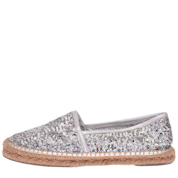 Silver Sequined Leather Espadrilles