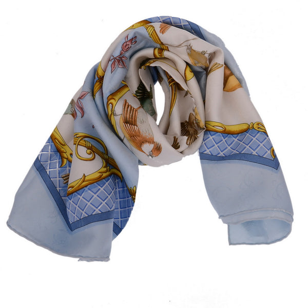 Bird Acre Baby Blue Silk Scarf