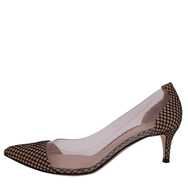 Black and Beige Mesh Pattern Pumps