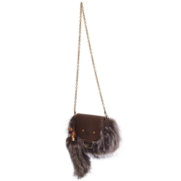 Brown Fox Fur And Leather Shoulder Bag