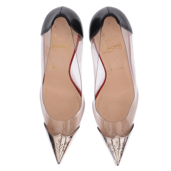 Pointy Plexi Pumps With Metallic Toes