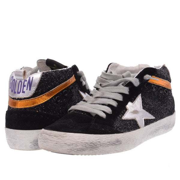Black Glitter Suede High Tops Trainers