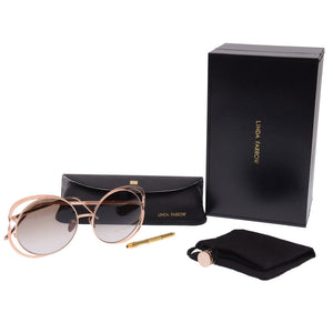 Round-Frame Cutout Rose Gold-Tone Sunglasses