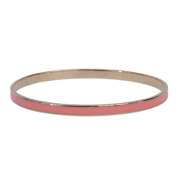 Holly Gold Enamel Pink Thin Logo Bangle