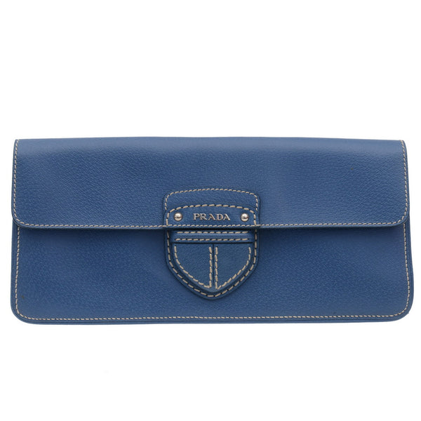 Blue Leather City Clutch Bag