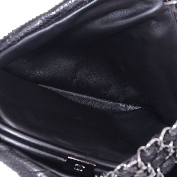 Black Rock Python Hobo Satchel Chain Hand Bag