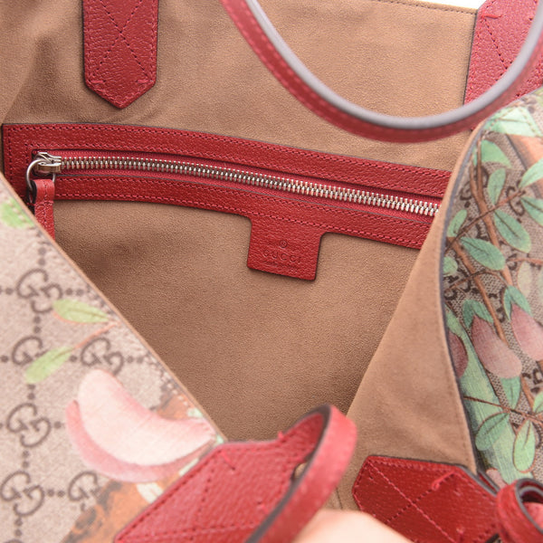 Red & Beige GG Supreme Tian Coated Canvas Tote Bag