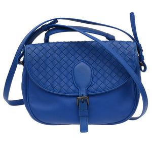 Blue Leather Intrecciato Semi Flap Crossbody Bag