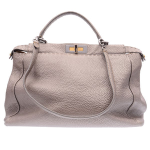 Shimmering Grey Leather Large Peekaboo Tote
