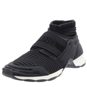 Black Stretch High Top Sneakers Socks Trainers