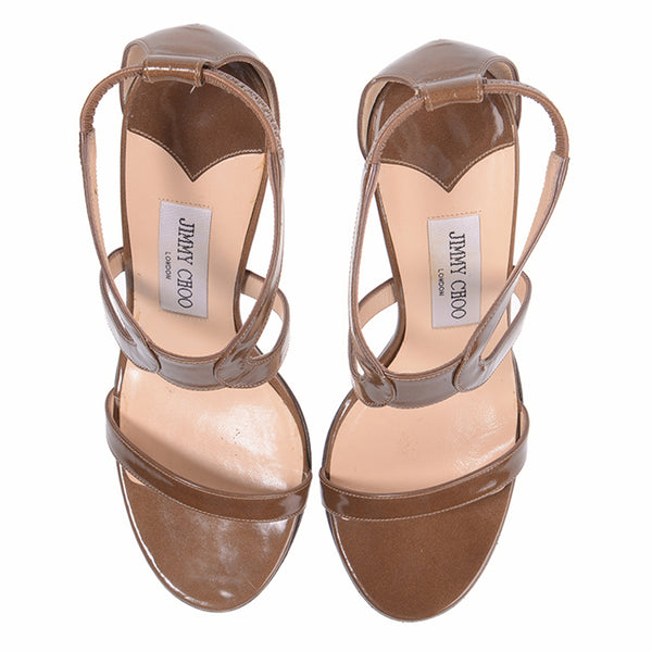 Khaki Patent Leather Sandals