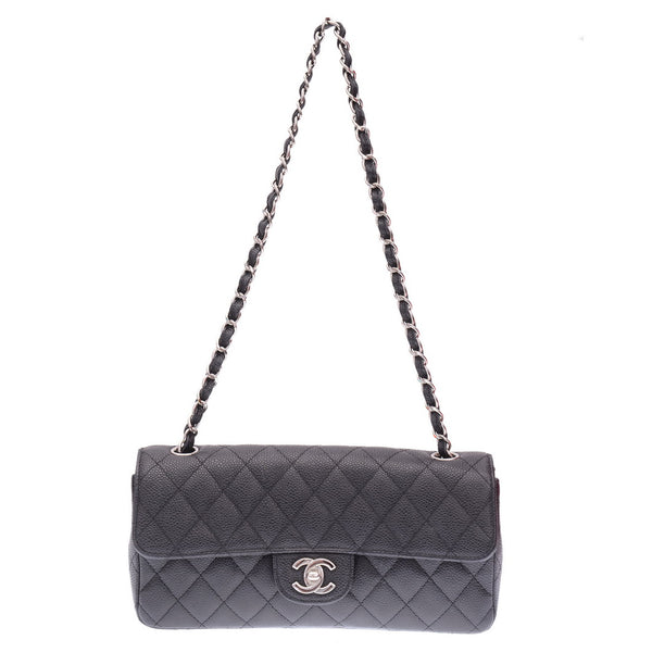 Black Caviar East West Medium Classic Clutch Flap Bag