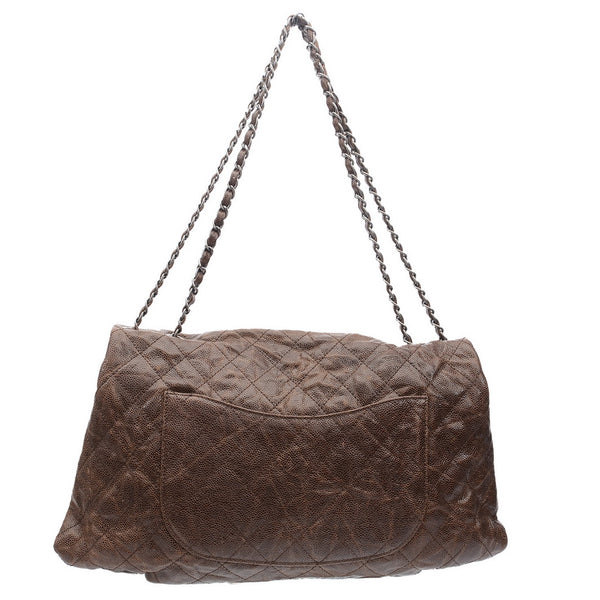 Brown Quilted Crinkled Grained Leather Classic Jumbo Single Flap Bag