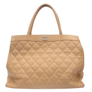 Beige Diamond Quilted Shopping Tote