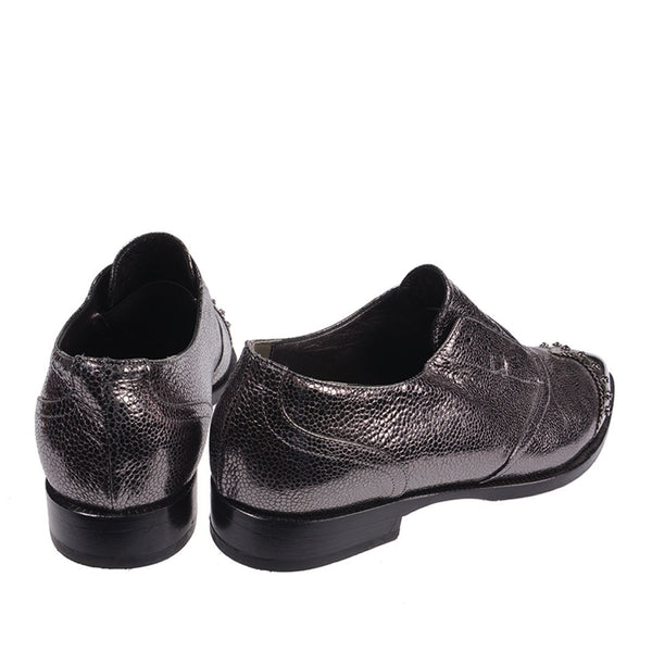 Metallic Pointed Toes Loafers