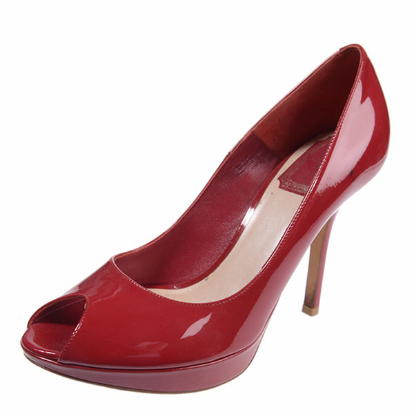 3405ae33ea9f8 Cherry Red Patent Leather Miss Dior Peep Toe Heels