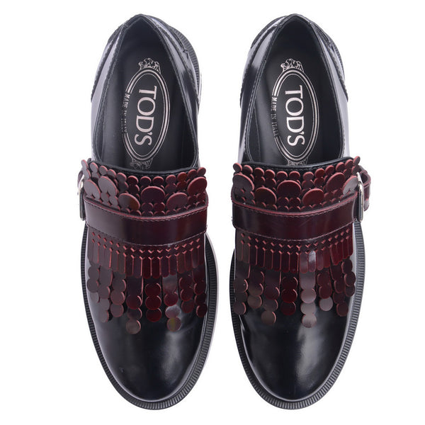 Black And Burgundy Gomma Fringed Patent Loafers