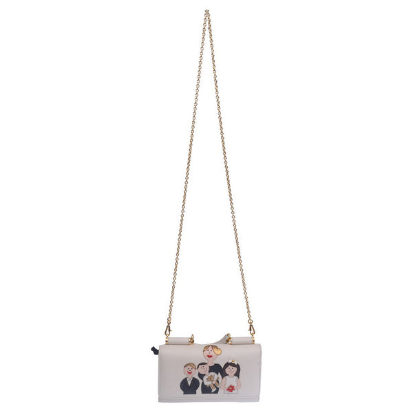 White Calfskin Mini Lipstick Bag With Patch Family