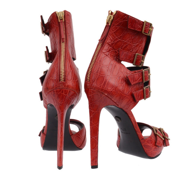 Red Crocodile Belt Straps Sandal Heels