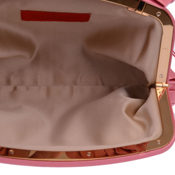 Pink Satin Bow Clutch