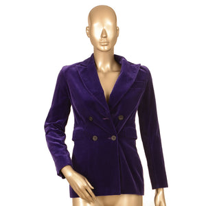 Velvet Purple Double Breasted Blazer