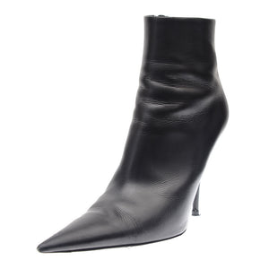 Black Leather Pointy Toe Ankle Boots