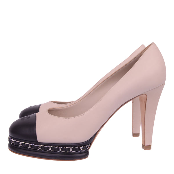 Beige & Black Chain Cap Toe Pump Heel Platforms