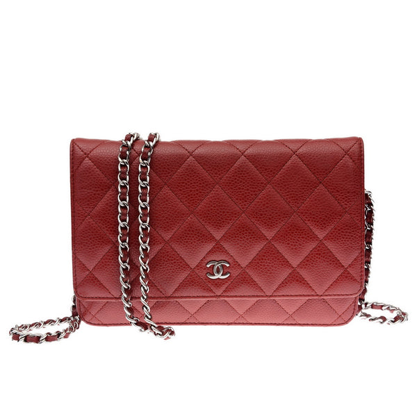 Chain Red Caviar Leather Wallet on Chain Bag