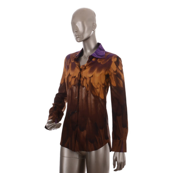 Feather Embossed Silk Blouse