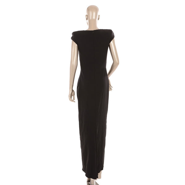 Shoulder Padded Zipped Gown