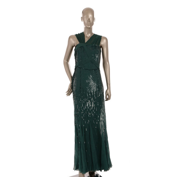 Emerald Green Sequins Gown