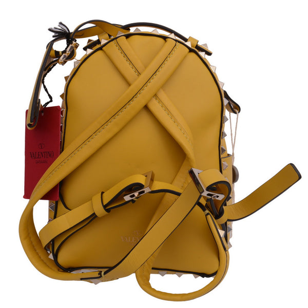 Rockstud Mini Yellow Leather Backpack