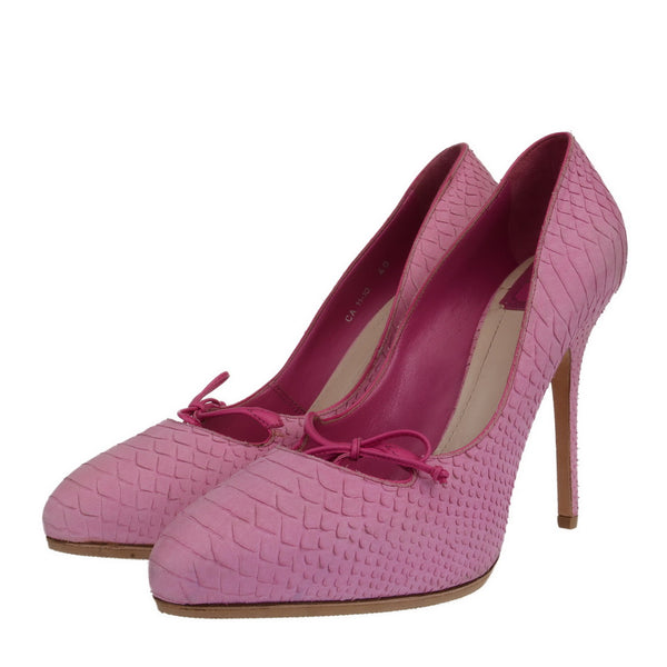 Candy Pink Python Embossed Pumps