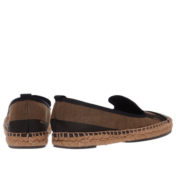 Junia Canvas Leather Espadrilles Tabacco & Nero Flats