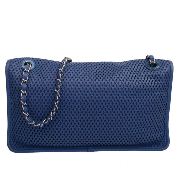 Navy Blue Perforated 'Up In The Air' Flap Bag