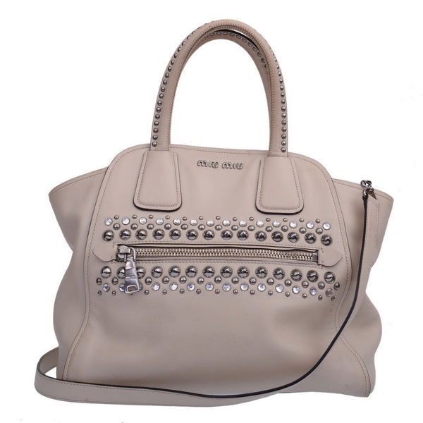 White Leather Silver Studded Bag